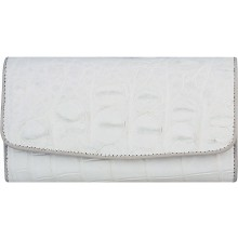 Genuine crocodile leather wallet PMT03 White