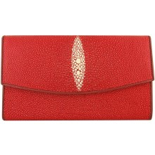 Genuine stingray leather wallet PR04 Fire Red