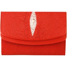 Genuine stingray leather wallet PR64 Fire Red
