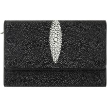 Genuine stingray leather wallet PR814 Black