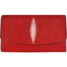 Genuine stingray leather long wallet PR52 Fire Red