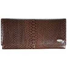 Genuine snake leather wallet PSM33 Brown