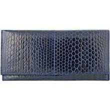 Genuine snake leather wallet PSN33E Midnight Blue