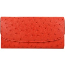 Genuine ostrich leather exclusive wallet PSOS03 Fire Red