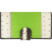 Genuine snake and stingray leather wallet PATW130PIN-ST Natural / Green