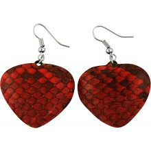 Genuine python sanke leather earrings PTER06 Red