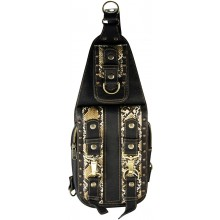 Genuine python snake and cow leather chest bag PTHOL84 Brown / Natural