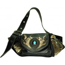 Genuine python snake and cow leather fanny pack PTPLHIP815 Brown / Natural
