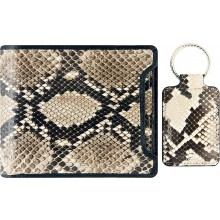 Genuine python leather wallet & key ring set PTWS05 Natural