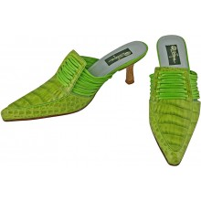 Genuine alligator leather shoes R-005 Green Apple