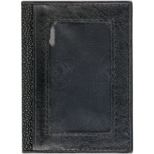 Genuine stingray leather card and ID holder R02 Black