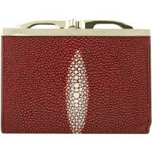 Genuine stingray leather wallet R872 Burgundy