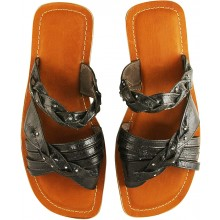 Genuine sea snake leather sandals SANDAL04SSN Brown