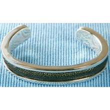 Sterling silver bangle/stingray leather inlay SBANGLE002L Black