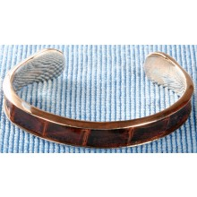 Sterling silver bangle/alligator leather inlay SBANGLE004 Brown