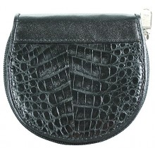 Genuine alligator leather coin wallet SM033 Black