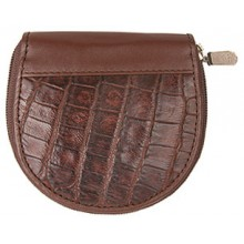 Genuine alligator leather coin wallet SM033 Brown