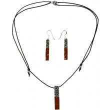 Coconut with silver inlay necklace & earrings set SN109SET