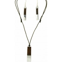 Coconut shell with sterling silver inlay set SN113SET