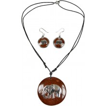 Coconut with silver inlay necklace & earrings set SN114SET