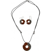 Coconut with silver inlay necklace & earrings set SN130SET