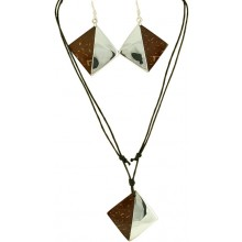 Coconut shell with sterling silver inlay set SN153SET