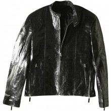 Genuine python snake leather jacket SNJACKET03PT Black