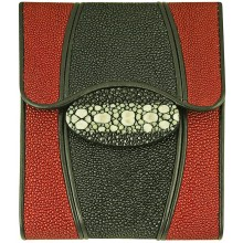 Genuine stingray leather wallet STW223 Black / Fire Red