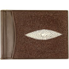 Genuine stingray leather money clip ST2392A Brown