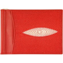Genuine stingray leather money clip ST2392A Fire Red