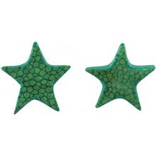 Genuine stingray leather earrings STER11SA-S Turquoise