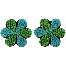 Genuine stingray leather earrings STER17SA Green / Turquoise