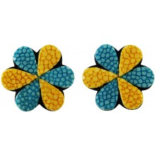 Genuine stingray leather earrings STER17SA Yellow / Turquoise