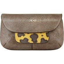Genuine stingray leather bag STH444-SA Brown / Leopard