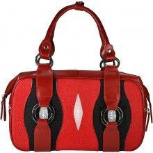 Genuine stingray leather bag STHA004 Fire Red / Black