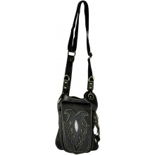 Genuine stingray and cow leather chest bag STHLG7 Brown / Black