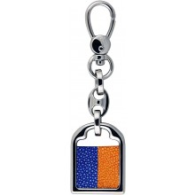 Genuine stingray leather key ring STKH31SA Orange / Navy Blue