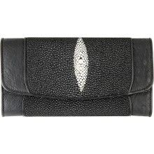 Genuine stingray and ostrich leather wallet STOSW10L Black