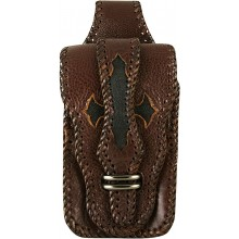 Genuine stingray and cow leather belt bag STPLP459 Brown / Black