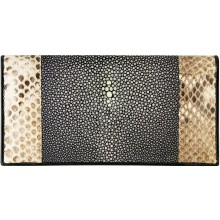 Genuine stingray / python leather wallet STPTW300SA Black / Natural