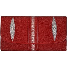 Genuine stingray leather wallet STW101-1 Fire Red