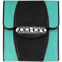 Genuine stingray leather wallet STW223 Black / Light Green