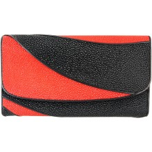 Genuine stingray leather wallet STW229 Black / Fire Red