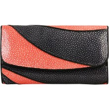 Genuine stingray leather wallet STW229-SA Black / Fire Red