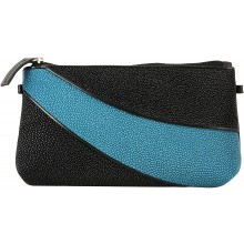 Genuine stingray leather wallet STW236-1 Black / Ocean Blue