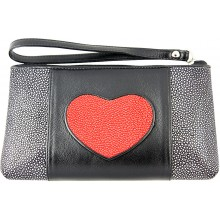 Genuine stingray leather wallet STW236-SA Black / Fire Red