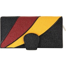 Genuine stingray wallet STW237 Black / Burgundy / Yellow
