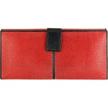 Genuine stingray leather wallet STW241SA Leon Red / Black