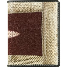 Genuine stingray and snake wallet STW53TH Burgundy / Natural