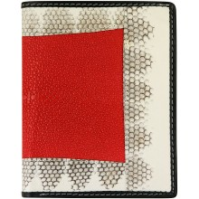 Genuine stingray and snake wallet STW53TH Fire Red / Natural